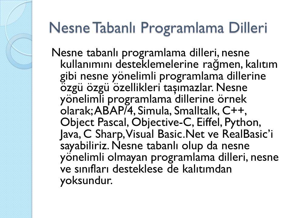 Nesne Tabanlı Programlama Dilleri