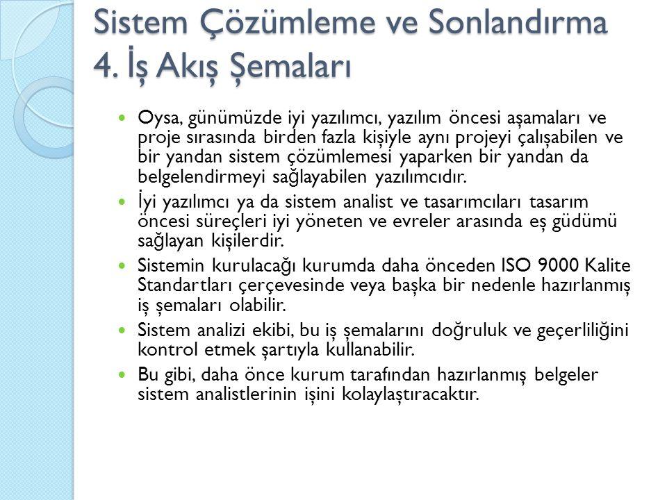 Sistem Çözümleme ve Sonlandırma 4. İş Akış Şemaları