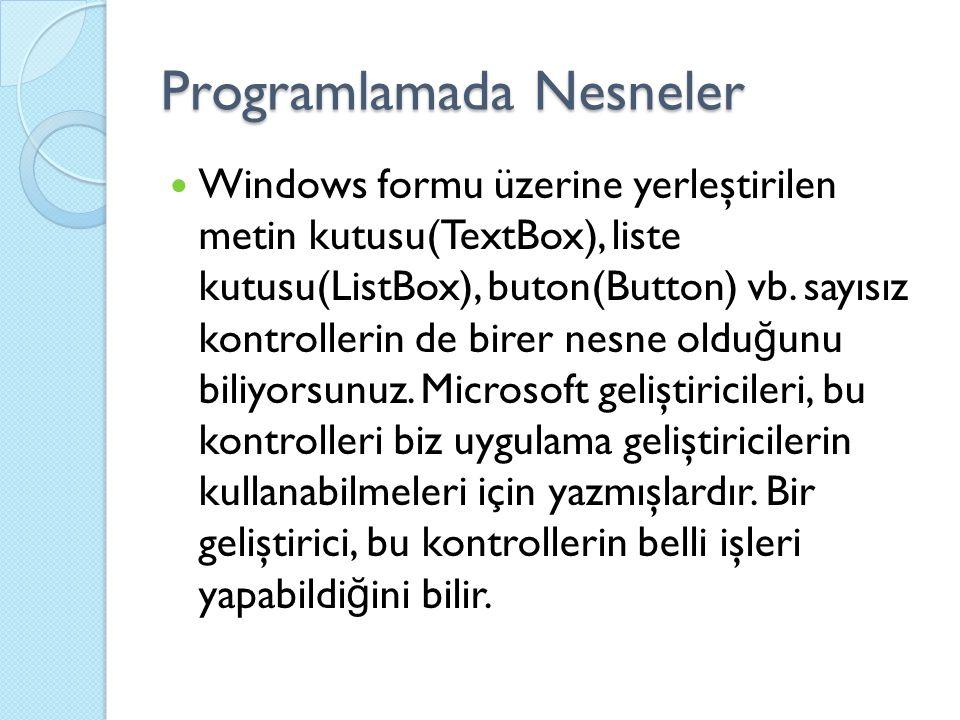 Programlamada Nesneler