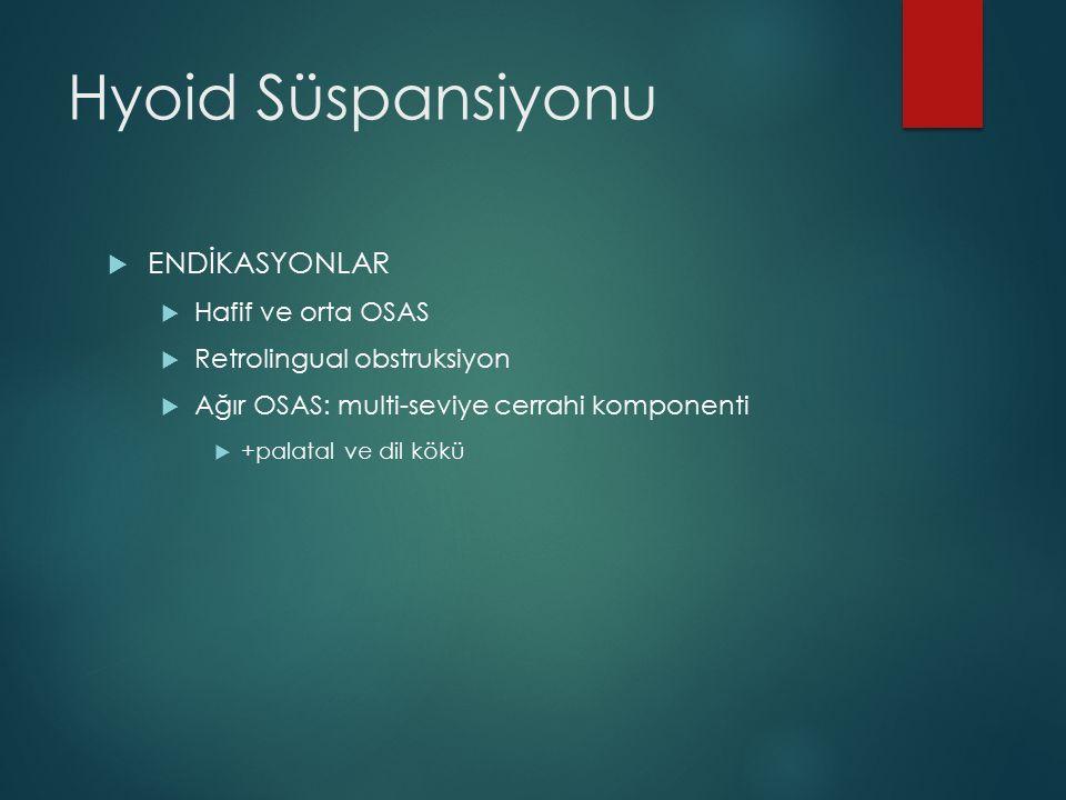 Hyoid Süspansiyonu ENDİKASYONLAR Hafif ve orta OSAS