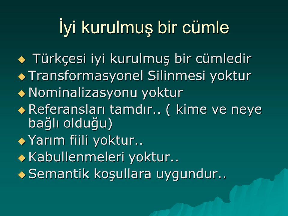 İyi kurulmuş bir cümle Türkçesi iyi kurulmuş bir cümledir