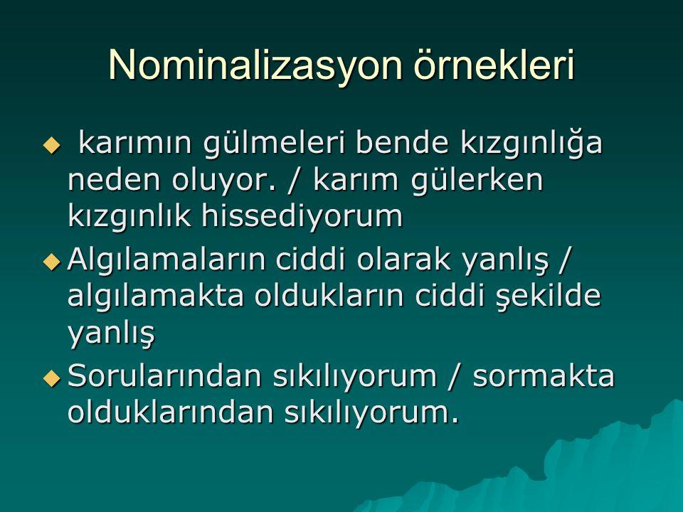 Nominalizasyon örnekleri