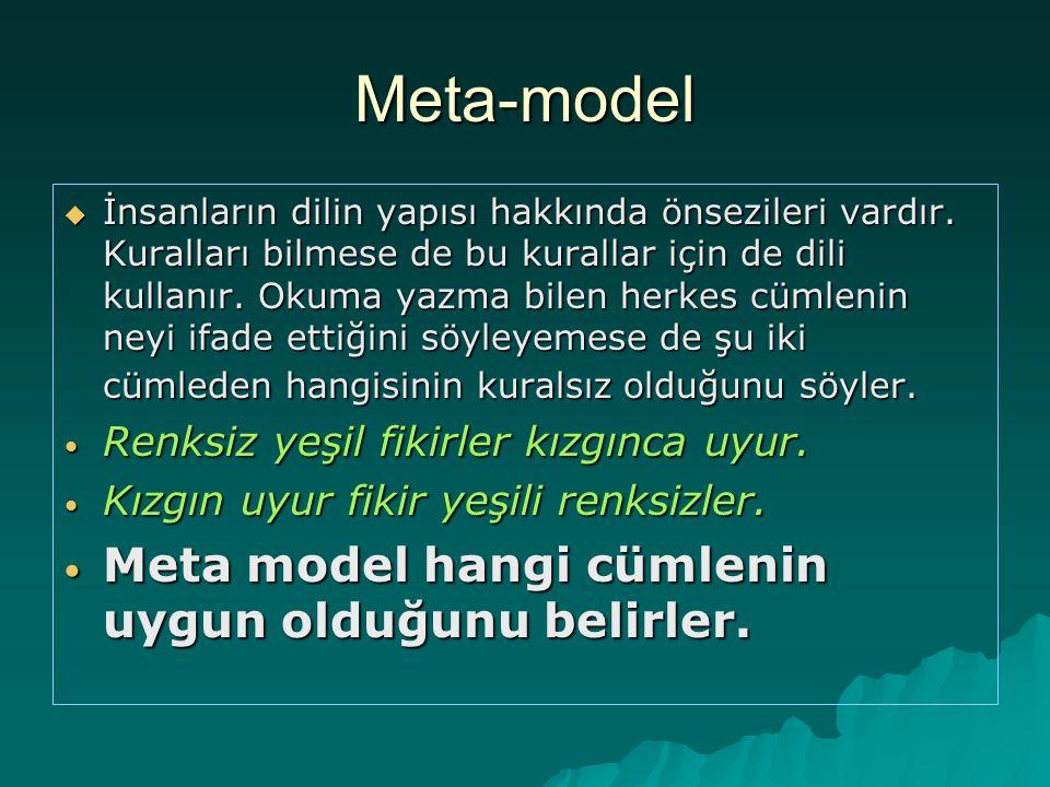 Meta-model Meta model hangi cümlenin uygun olduğunu belirler.