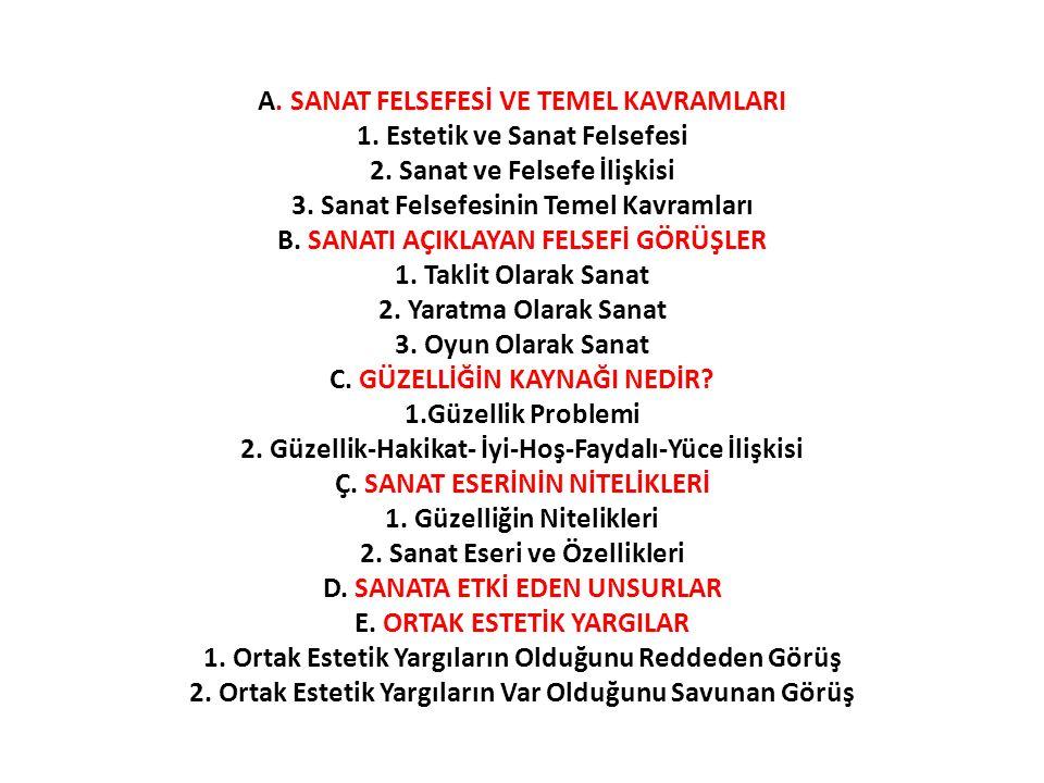 A. SANAT FELSEFESİ VE TEMEL KAVRAMLARI 1. Estetik ve Sanat Felsefesi 2