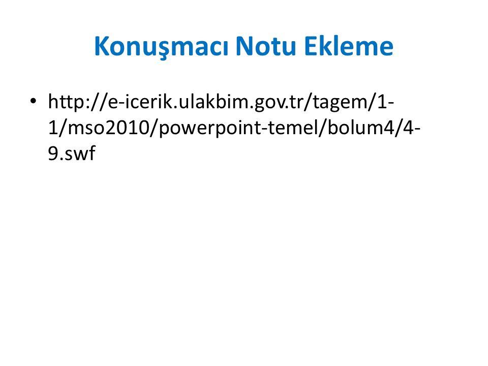 Konuşmacı Notu Ekleme http://e-icerik.ulakbim.gov.tr/tagem/1-1/mso2010/powerpoint-temel/bolum4/4-9.swf.