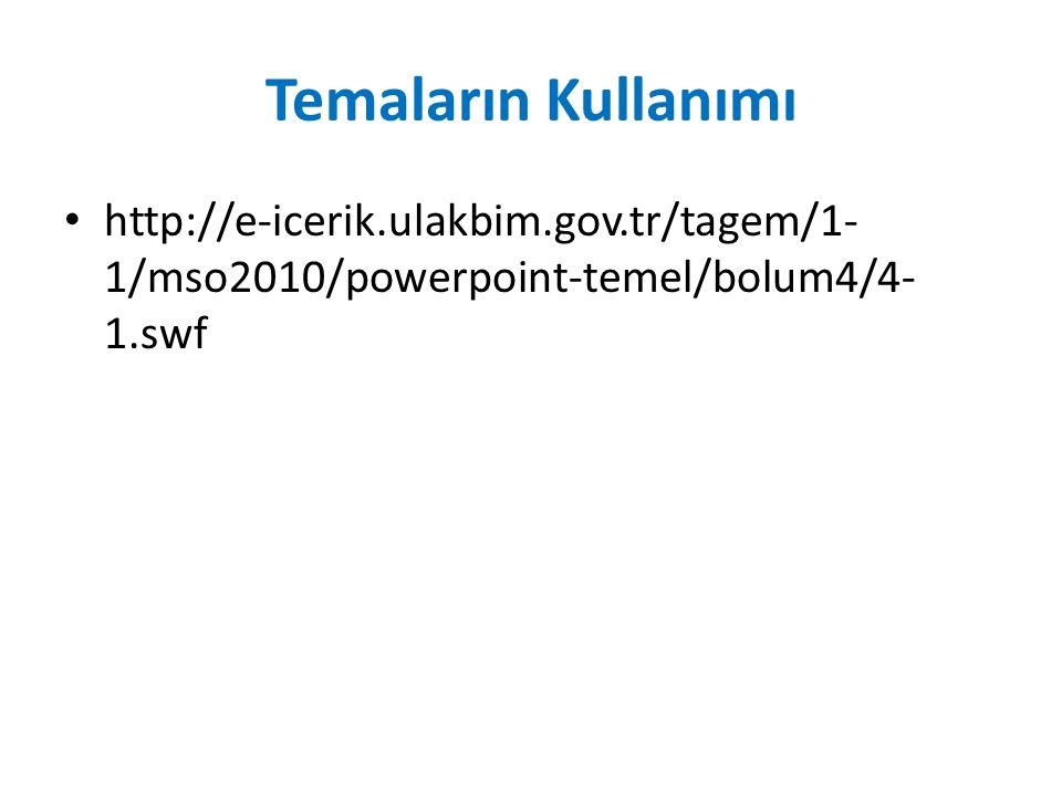 Temaların Kullanımı http://e-icerik.ulakbim.gov.tr/tagem/1-1/mso2010/powerpoint-temel/bolum4/4-1.swf.