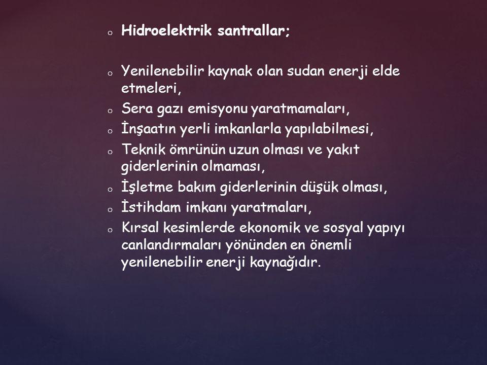Hidroelektrik santrallar;