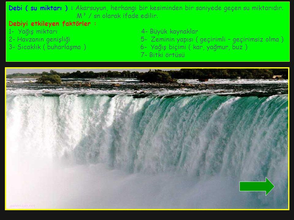 Debi ( su miktarı ) : Akarsuyun, herhangi bir kesiminden bir saniyede geçen su miktarıdır.