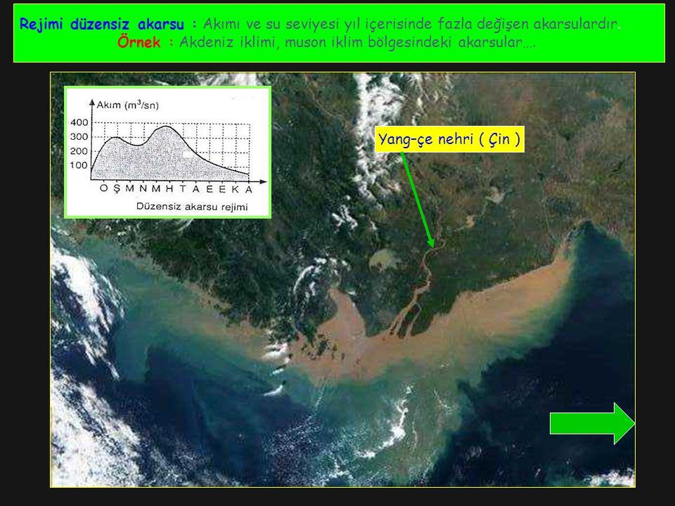 Rejimi düzensiz akarsu : Akımı ve su seviyesi yıl içerisinde fazla değişen akarsulardır.