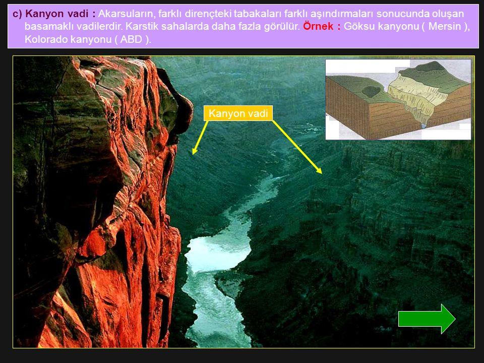 c) Kanyon vadi : Akarsuların, farklı dirençteki tabakaları farklı aşındırmaları sonucunda oluşan