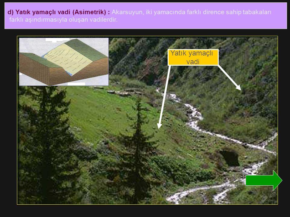 d) Yatık yamaçlı vadi (Asimetrik) : Akarsuyun, iki yamacında farklı dirence sahip tabakaları