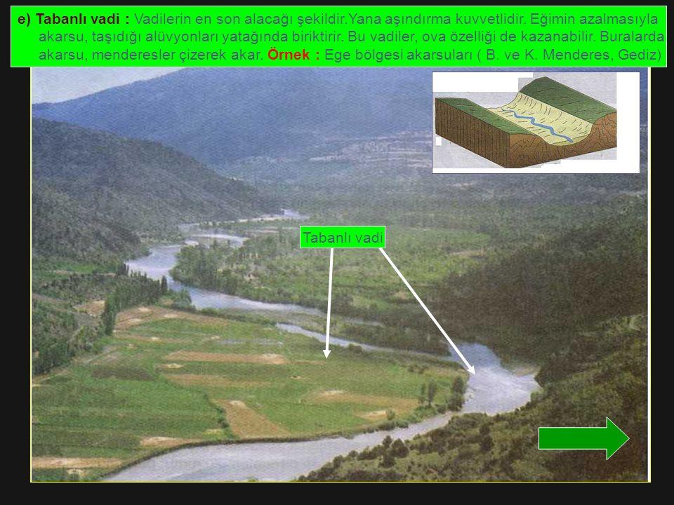 e) Tabanlı vadi : Vadilerin en son alacağı şekildir
