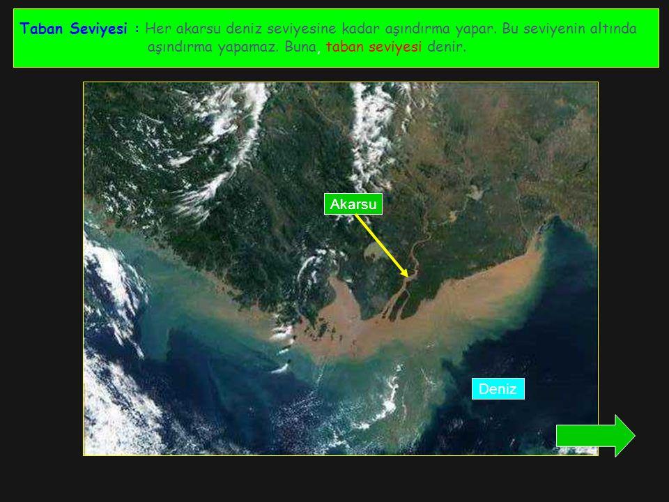Taban Seviyesi : Her akarsu deniz seviyesine kadar aşındırma yapar