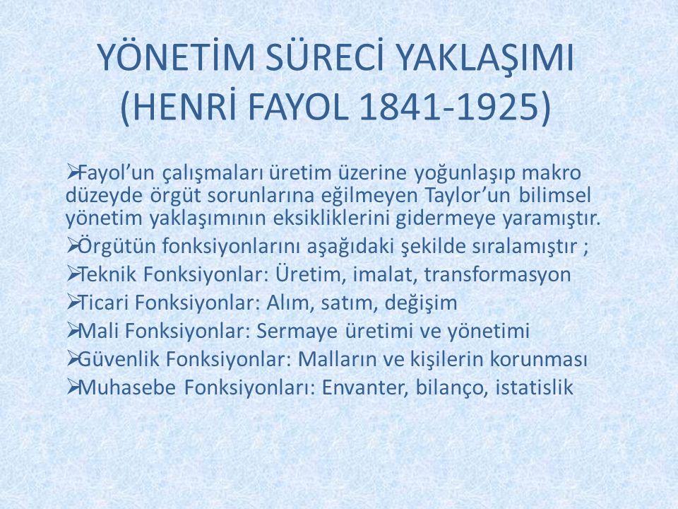 YÖNETİM SÜRECİ YAKLAŞIMI (HENRİ FAYOL 1841-1925)