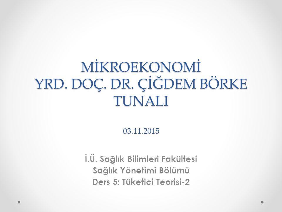MİKROEKONOMİ YRD. DOÇ. DR. ÇİĞDEM BÖRKE TUNALI 03.11.2015