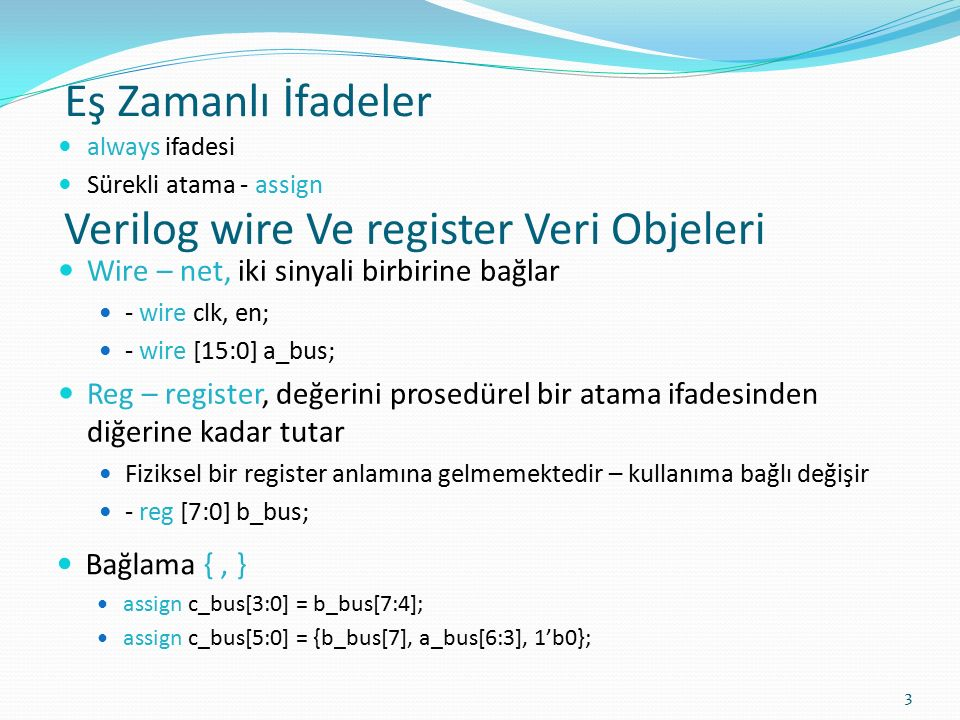 Verilog wire Ve register Veri Objeleri