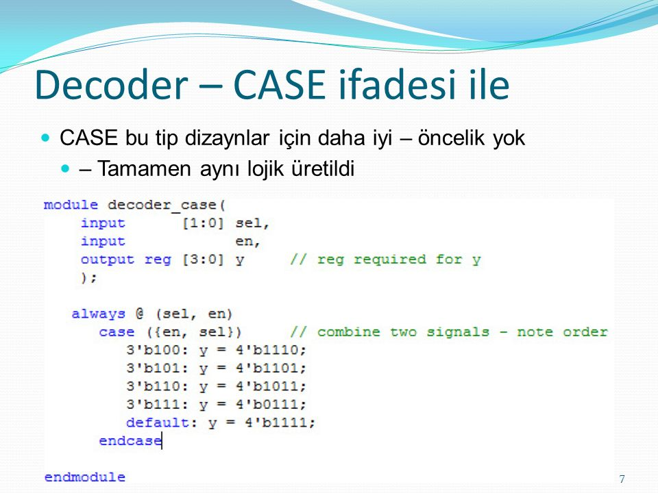 Decoder – CASE ifadesi ile