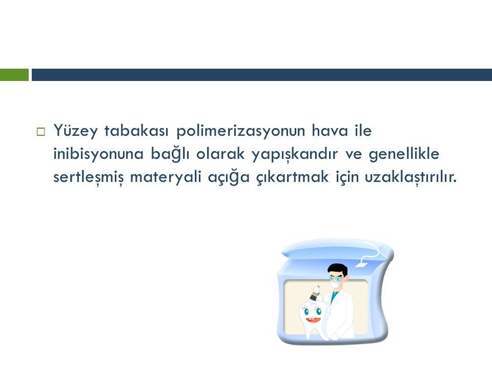 Yüzey tabakası polimerizasyonun hava ile inibisyonuna bağlı olarak yapışkandır ve genellikle sertleşmiş materyali açığa çıkartmak için uzaklaştırılır.