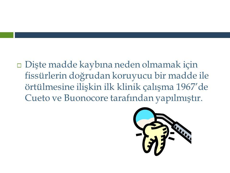 Dişte madde kaybına neden olmamak için fissürlerin doğrudan koruyucu bir madde ile örtülmesine ilişkin ilk klinik çalışma 1967'de Cueto ve Buonocore tarafından yapılmıştır.