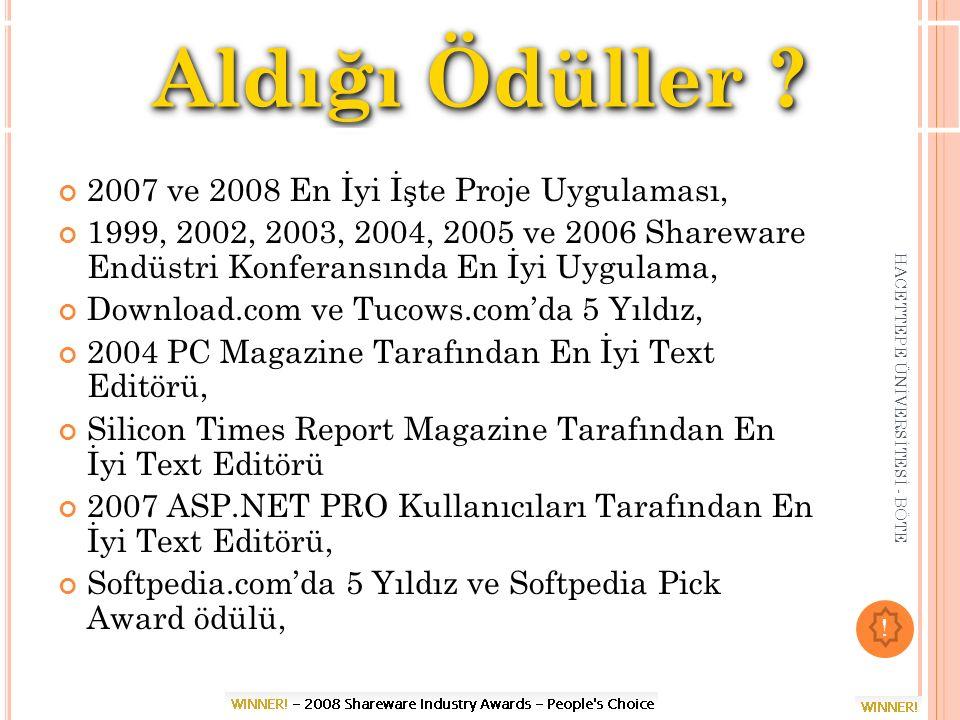 Aldığı Ödüller 2007 ve 2008 En İyi İşte Proje Uygulaması,