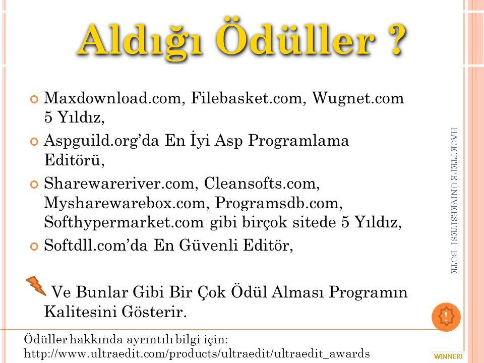 Aldığı Ödüller Maxdownload.com, Filebasket.com, Wugnet.com 5 Yıldız,