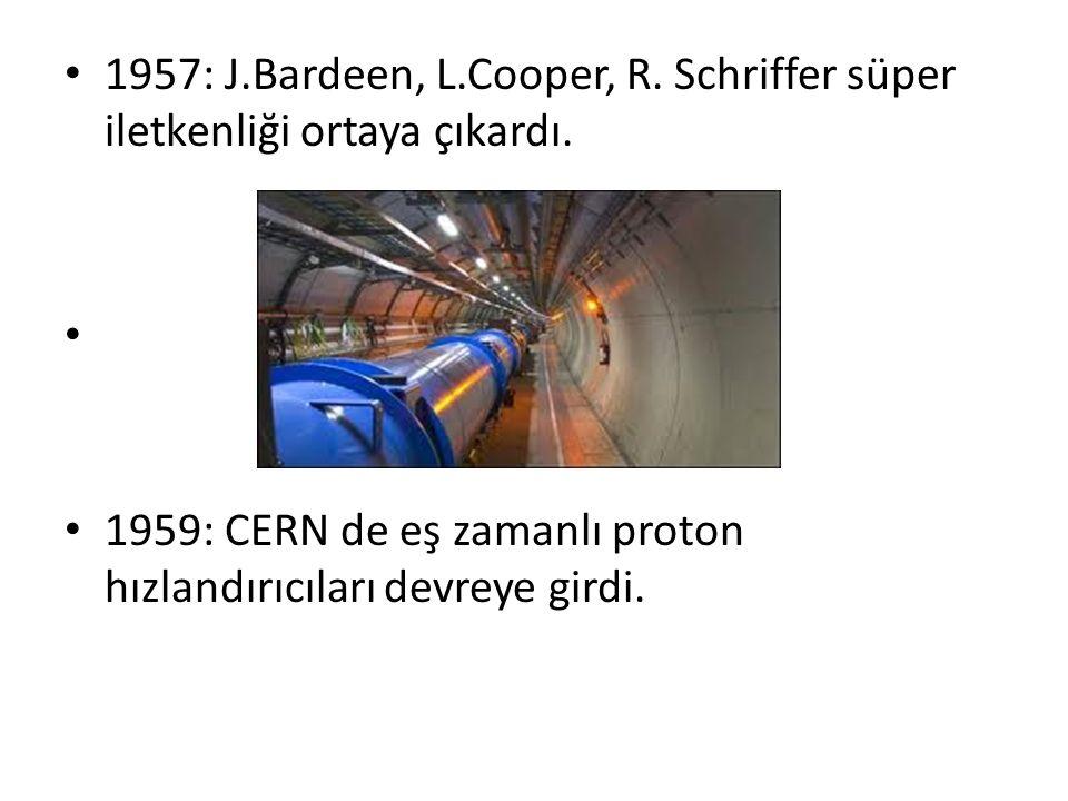 1957: J.Bardeen, L.Cooper, R. Schriffer süper iletkenliği ortaya çıkardı.