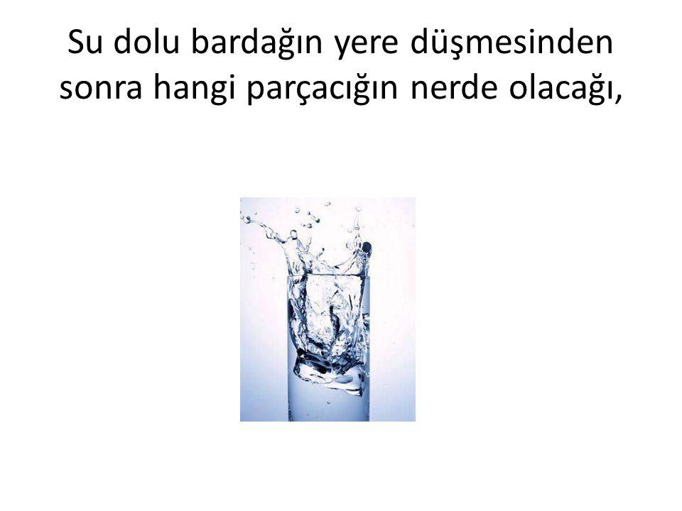 Su dolu bardağın yere düşmesinden sonra hangi parçacığın nerde olacağı,