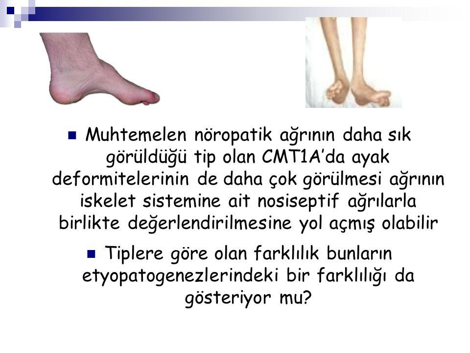 Muhtemelen nöropatik ağrının daha sık görüldüğü tip olan CMT1A'da ayak deformitelerinin de daha çok görülmesi ağrının iskelet sistemine ait nosiseptif ağrılarla birlikte değerlendirilmesine yol açmış olabilir