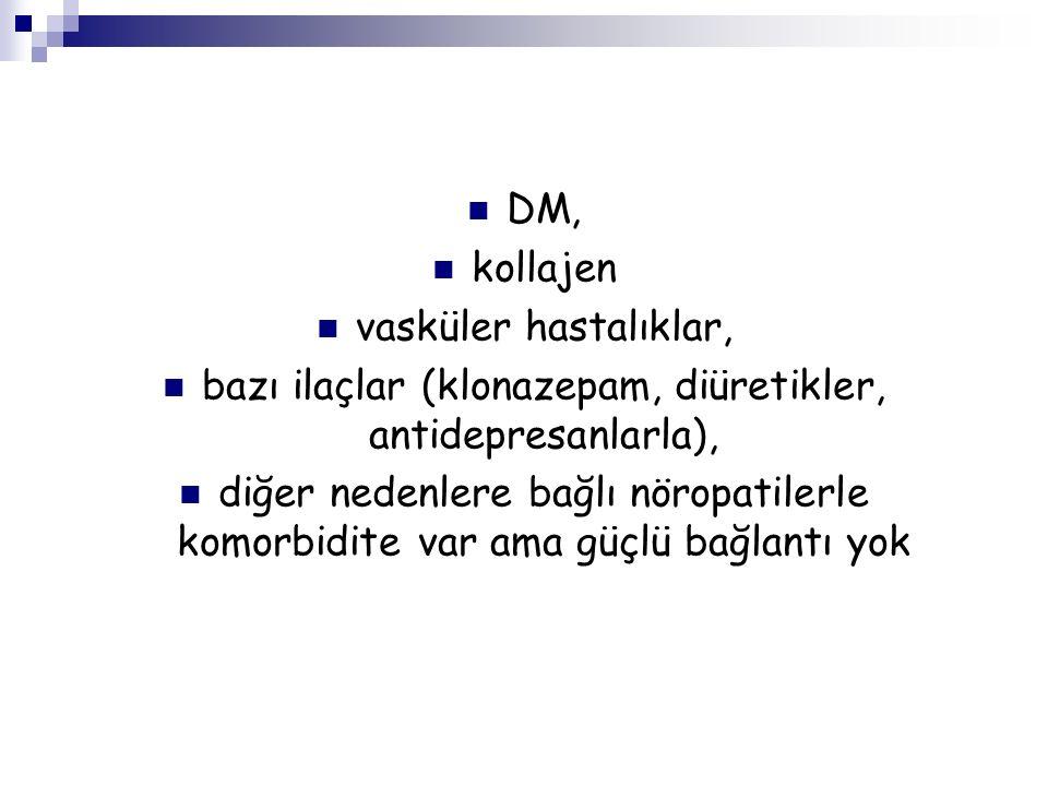 bazı ilaçlar (klonazepam, diüretikler, antidepresanlarla),