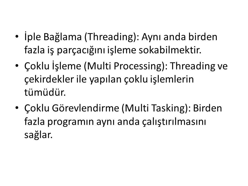 İple Bağlama (Threading): Aynı anda birden fazla iş parçacığını işleme sokabilmektir.