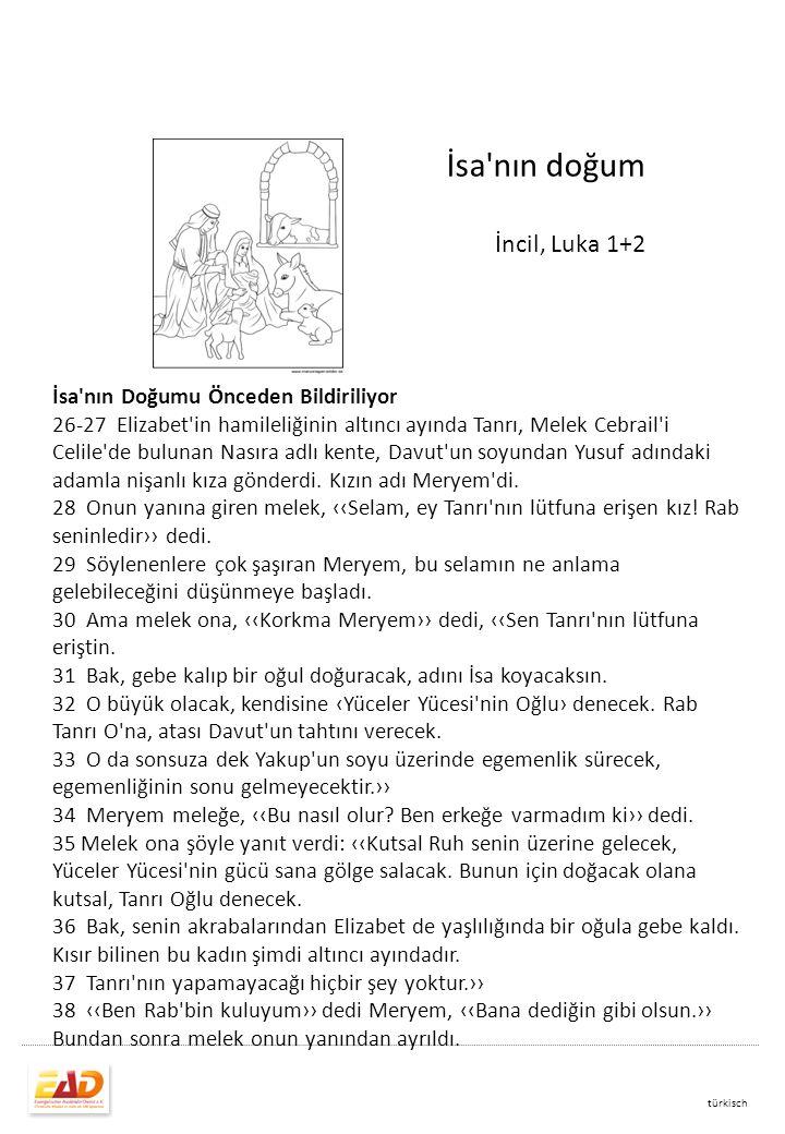 İsa nın doğum İncil, Luka 1+2 İsa nın Doğumu Önceden Bildiriliyor