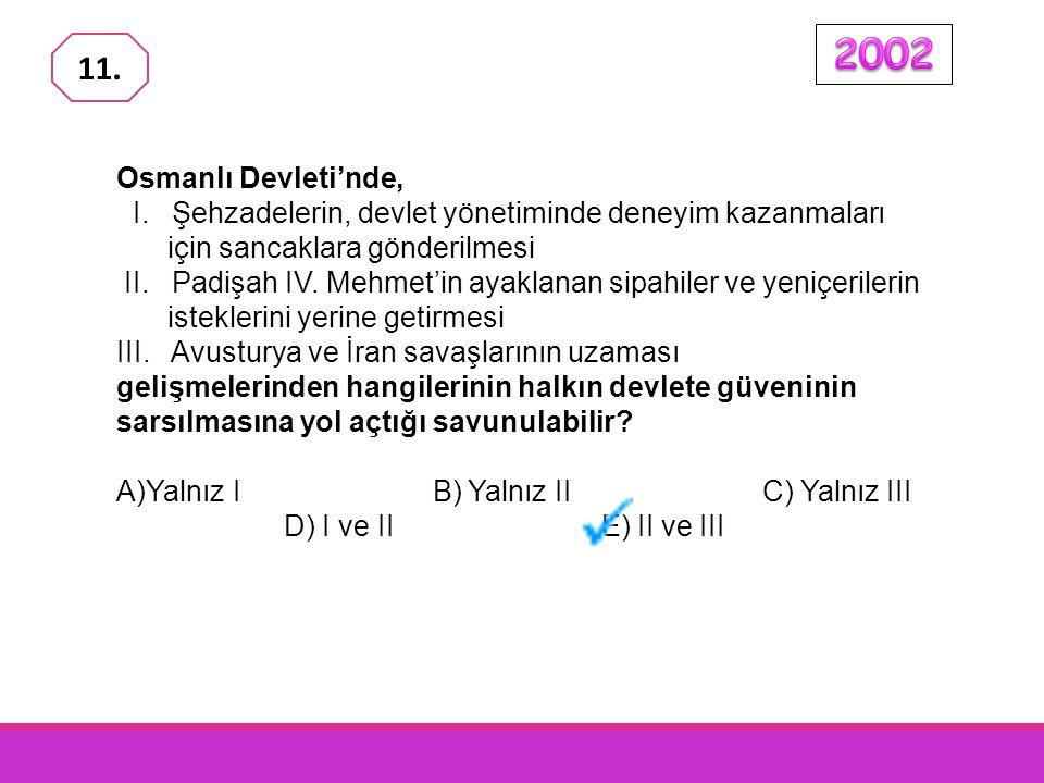 2002 11. Osmanlı Devleti'nde, I. Şehzadelerin, devlet yönetiminde deneyim kazanmaları için sancaklara gönderilmesi.