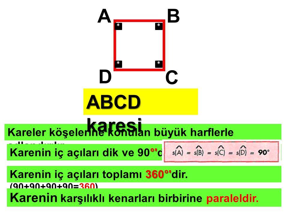 A B D C ABCD karesi Karenin karşılıklı kenarları birbirine paraleldir.