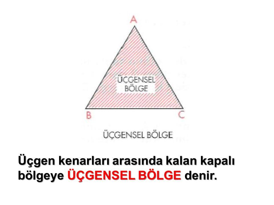 Üçgen kenarları arasında kalan kapalı bölgeye ÜÇGENSEL BÖLGE denir.