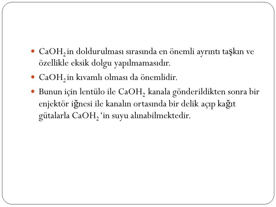 CaOH2 in doldurulması sırasında en önemli ayrıntı taşkın ve özellikle eksik dolgu yapılmamasıdır.