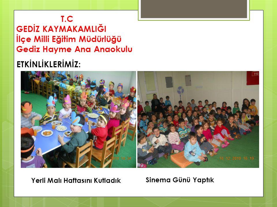 T.C GEDİZ KAYMAKAMLIĞI İlçe Milli Eğitim Müdürlüğü Gediz Hayme Ana Anaokulu