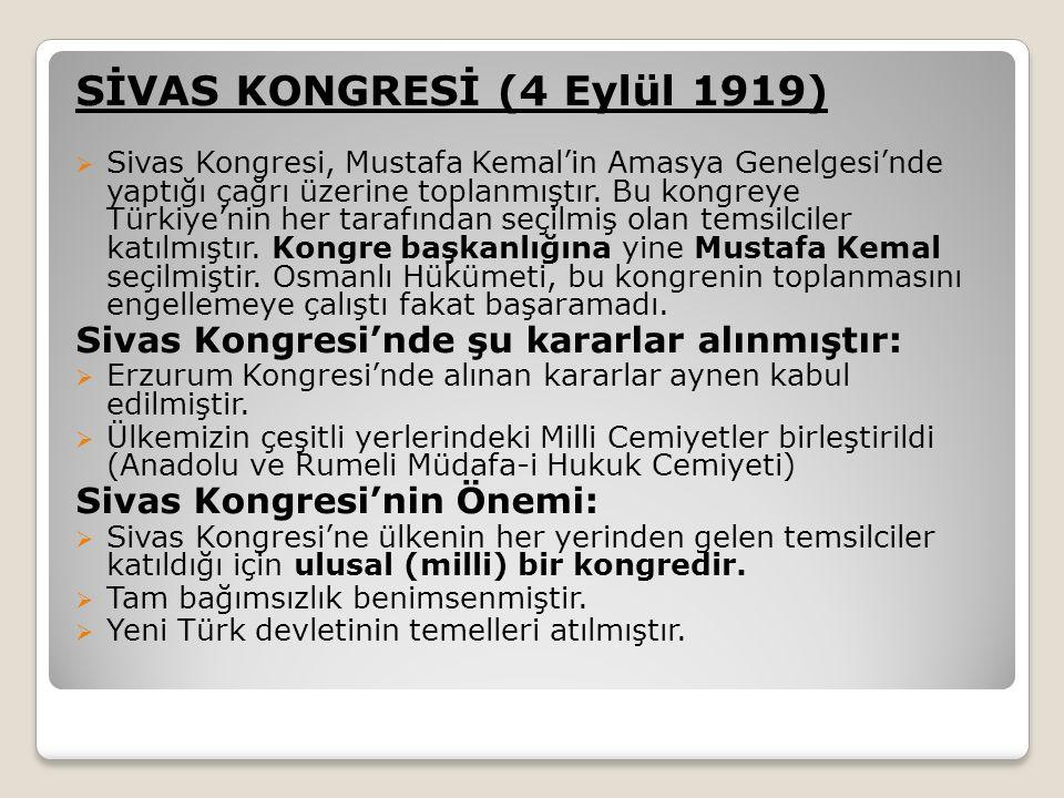 SİVAS KONGRESİ (4 Eylül 1919)
