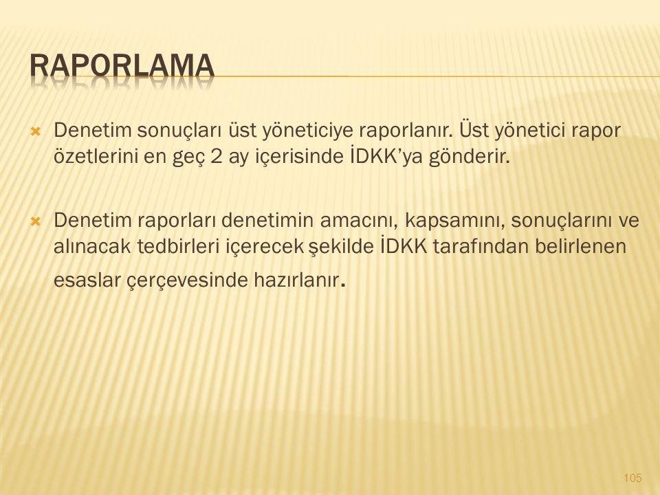 Raporlama Denetim sonuçları üst yöneticiye raporlanır. Üst yönetici rapor özetlerini en geç 2 ay içerisinde İDKK'ya gönderir.