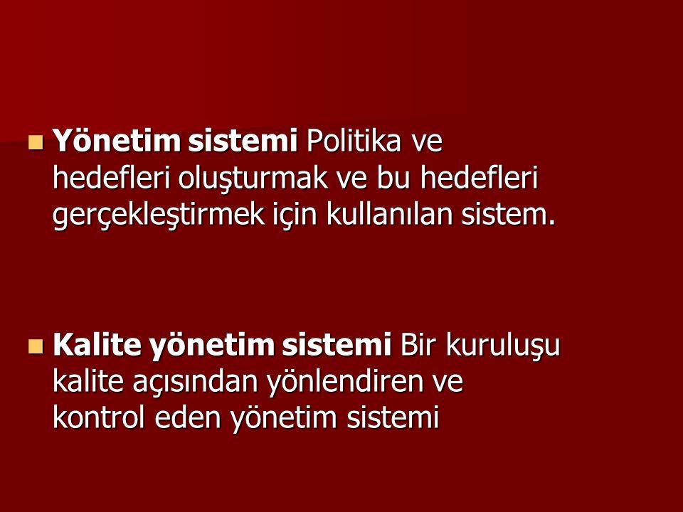 Yönetim sistemi Politika ve hedefleri oluşturmak ve bu hedefleri gerçekleştirmek için kullanılan sistem.
