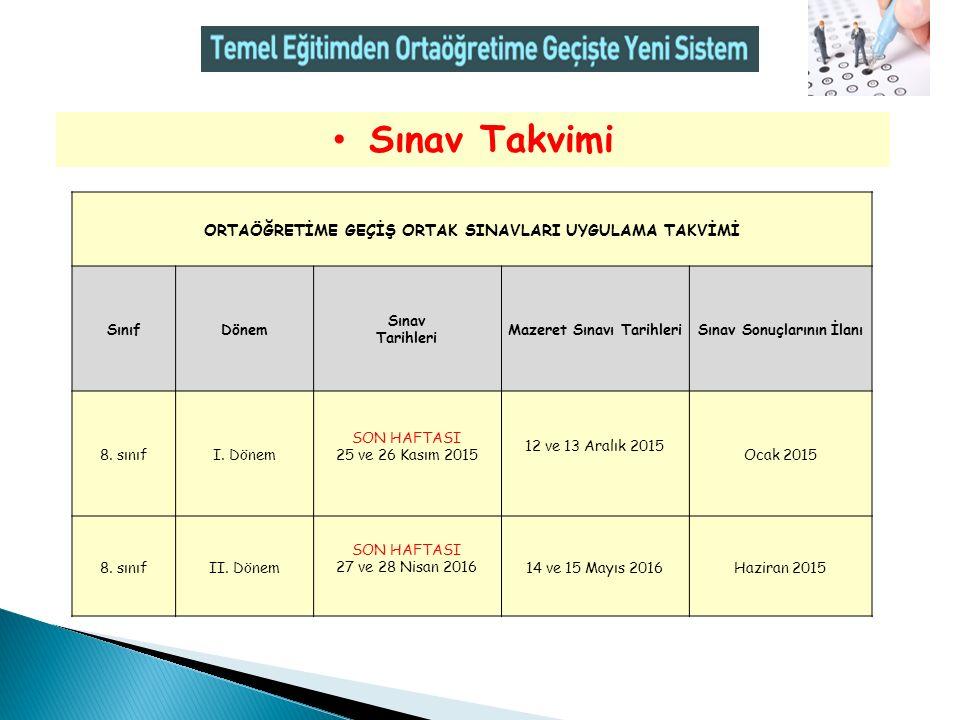 Sınav Takvimi ORTAÖĞRETİME GEÇİŞ ORTAK SINAVLARI UYGULAMA TAKVİMİ