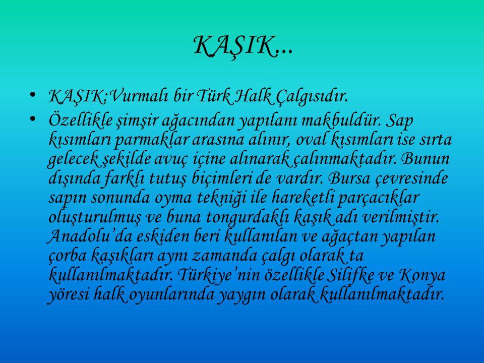 KAŞIK... KAŞIK:Vurmalı bir Türk Halk Çalgısıdır.