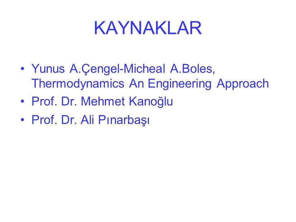 KAYNAKLAR Yunus A.Çengel-Micheal A.Boles, Thermodynamics An Engineering Approach. Prof. Dr. Mehmet Kanoğlu.