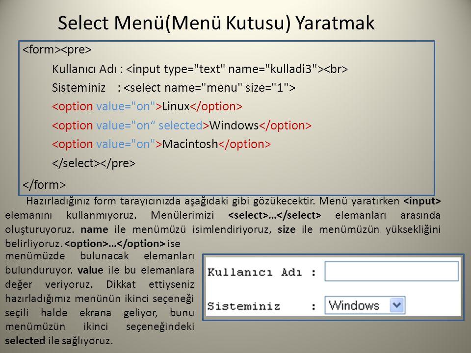Select Menü(Menü Kutusu) Yaratmak