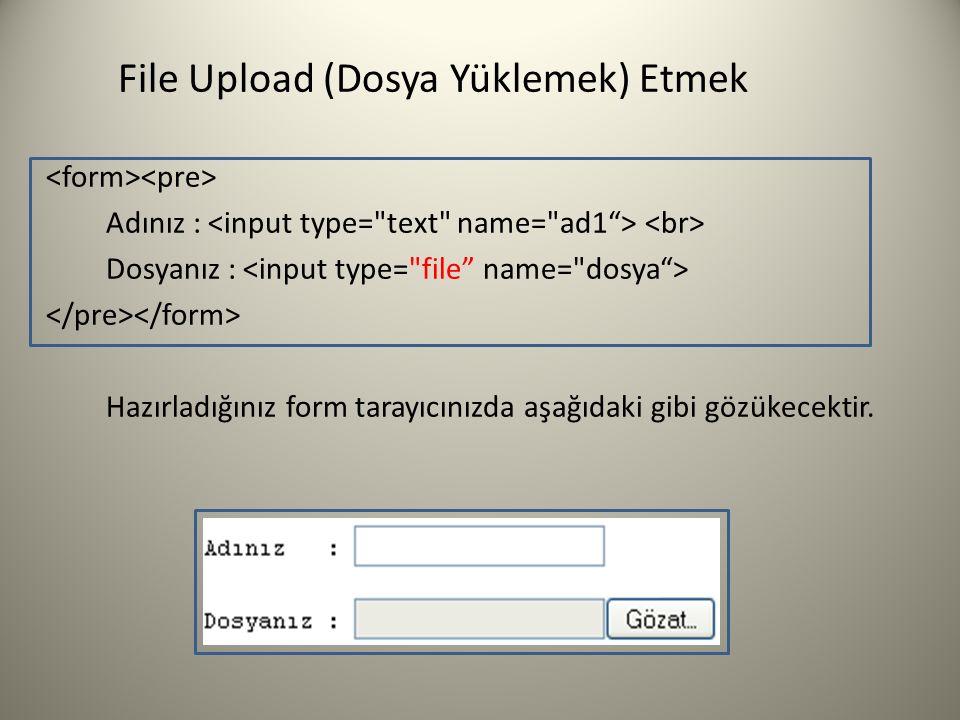 File Upload (Dosya Yüklemek) Etmek