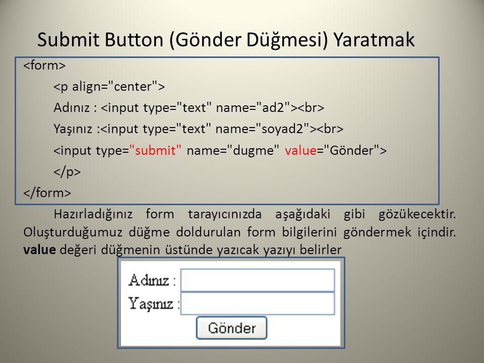 Submit Button (Gönder Düğmesi) Yaratmak