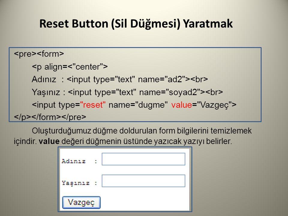 Reset Button (Sil Düğmesi) Yaratmak