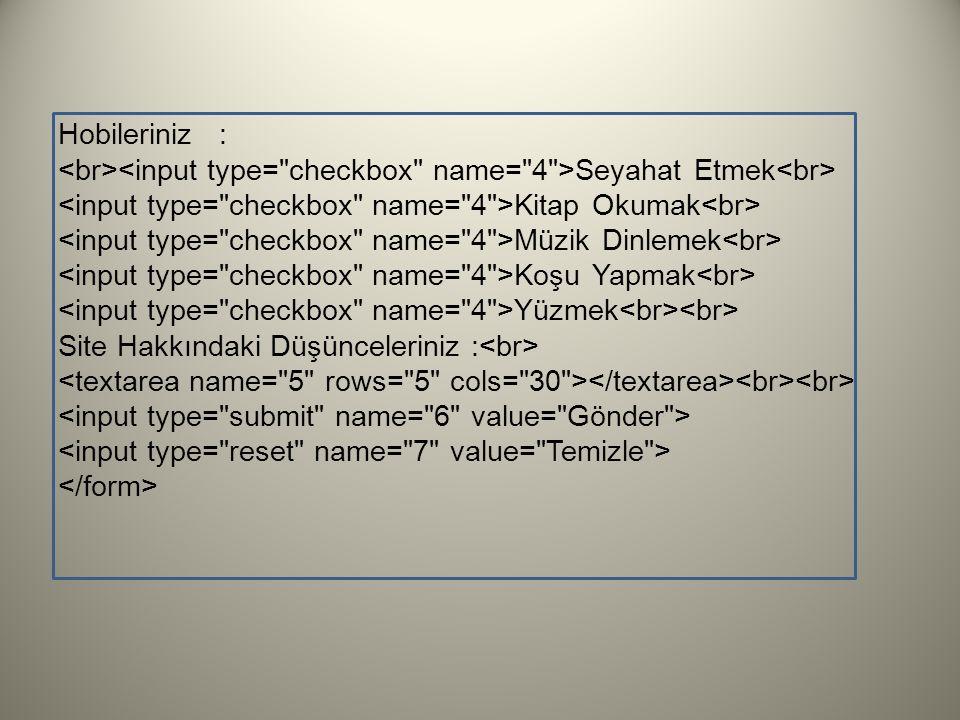 Hobileriniz : <br><input type= checkbox name= 4 >Seyahat Etmek<br> <input type= checkbox name= 4 >Kitap Okumak<br>