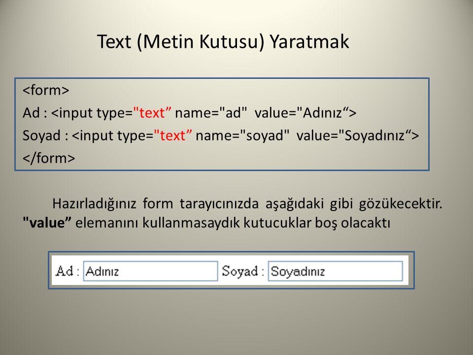 Text (Metin Kutusu) Yaratmak