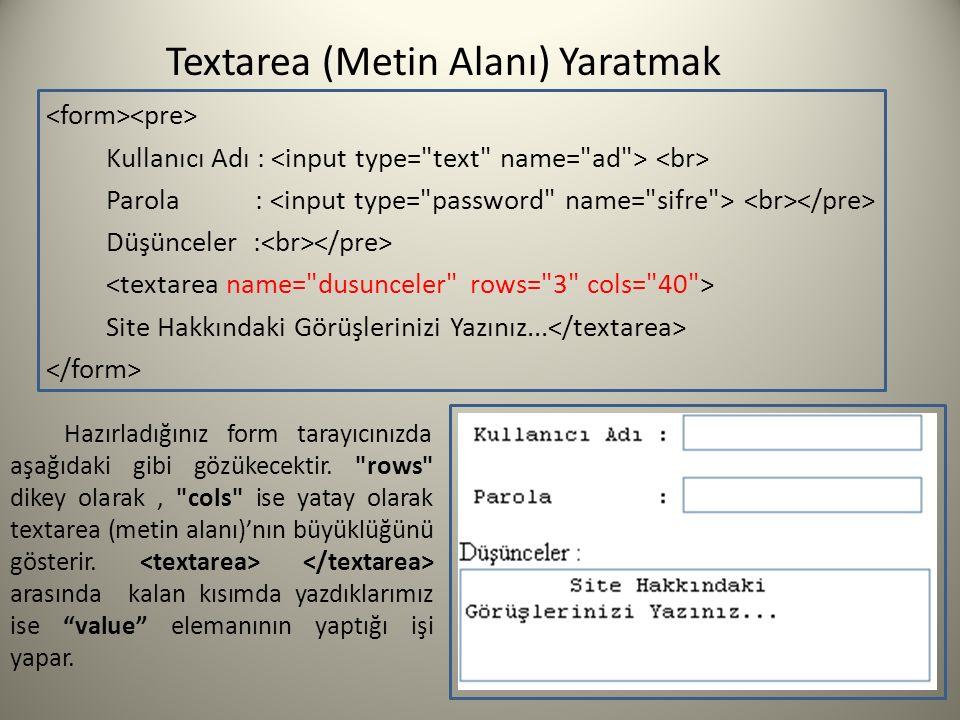 Textarea (Metin Alanı) Yaratmak