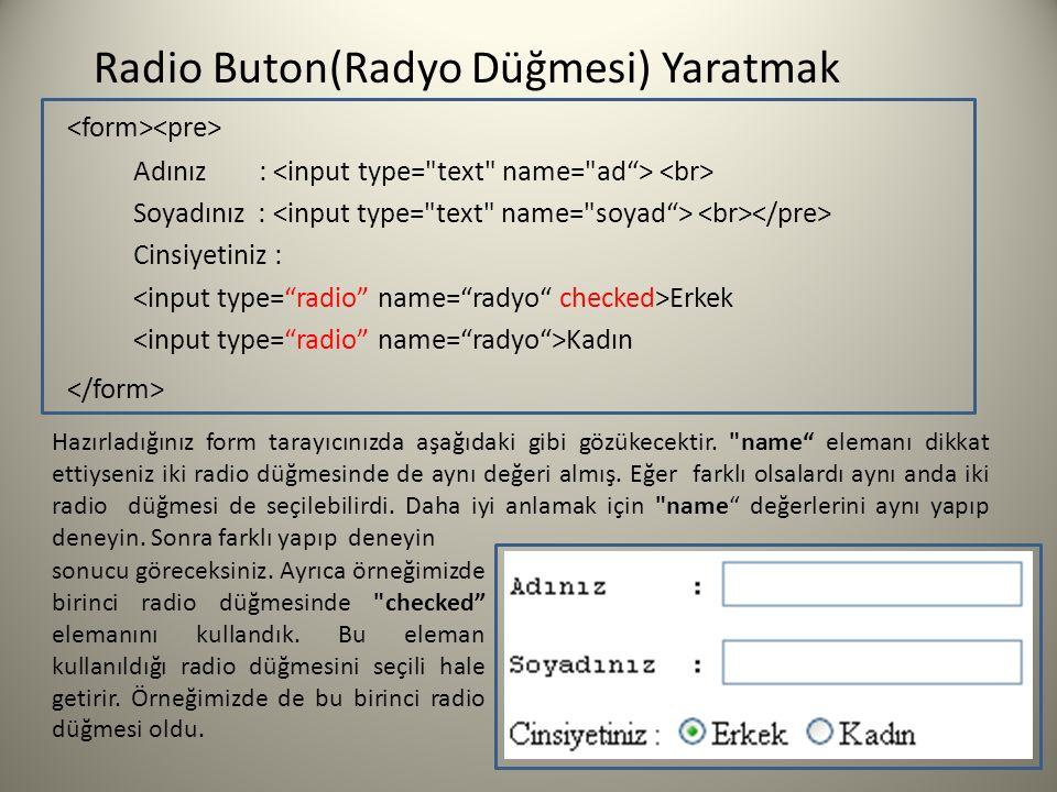 Radio Buton(Radyo Düğmesi) Yaratmak